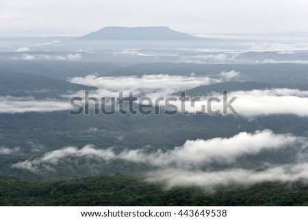 Beautiful fog along the mountain ridge