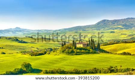 Beautiful foggy landscape in Tuscany, Italy - stock photo