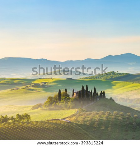 Beautiful foggy landscape in Tuscany, Italy - stock photo