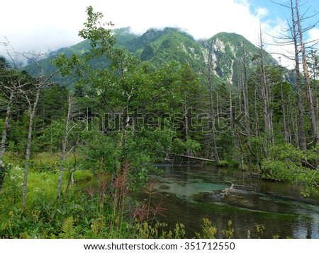 Beautiful forest and pond in Kamikouchi Nagano Japan