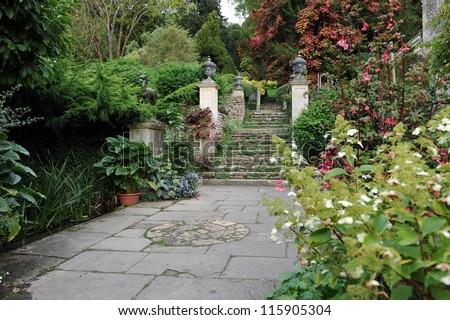 Beautiful Formal Garden Courtyard Background - stock photo