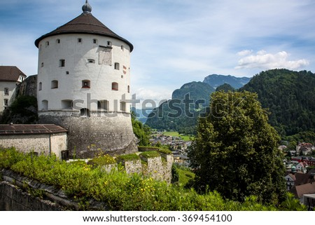 Beautiful fortress in mountainous village in Alps