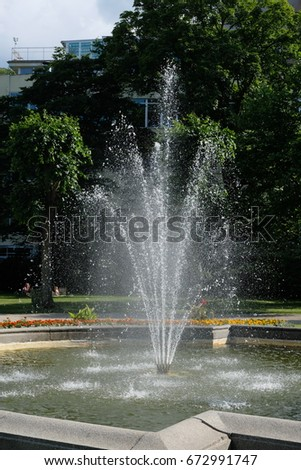 Beautiful fountain in the park, Karlovy Vary, Czech Republic