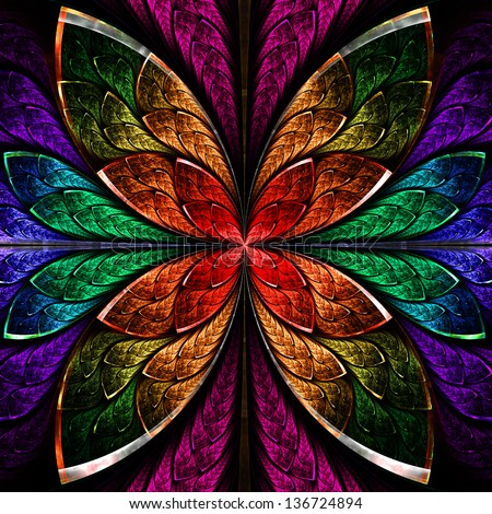 Beautiful fractal flower in blue, green and red. Computer generated graphics. - stock photo