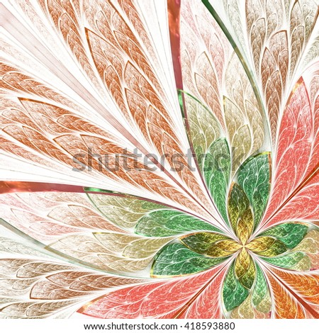 Beautiful fractal flower or butterfly in stained glass window style. Computer generated graphics. - stock photo