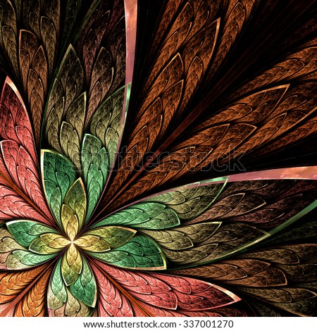 Beautiful fractal flower or butterfly in stained glass window style on black. Green, beige and pink palette. Computer generated graphics. - stock photo
