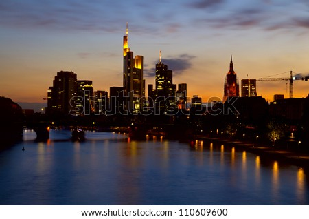 beautiful Frankfurt am Main and Main river at night