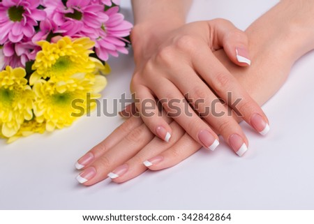 Beautiful french manicure with chrysanthemums on a white background.