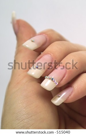 Beautiful french manicure with diamonds