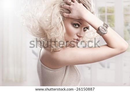 Beautiful fresh blond girl,  perfect skin and hair - stock photo