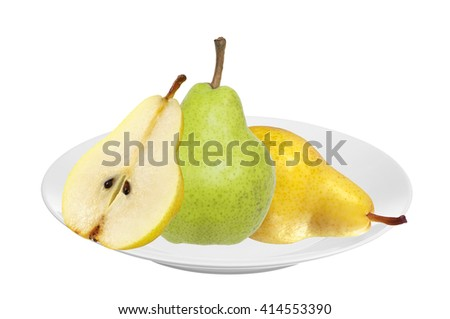 Beautiful fresh green and yellow pears on plate isolated on white