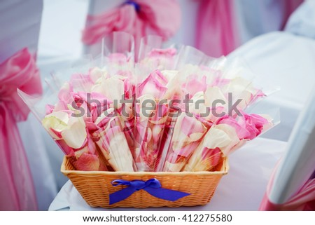 beautiful fresh pink and white rose petals on a wedding ceremony - stock photo