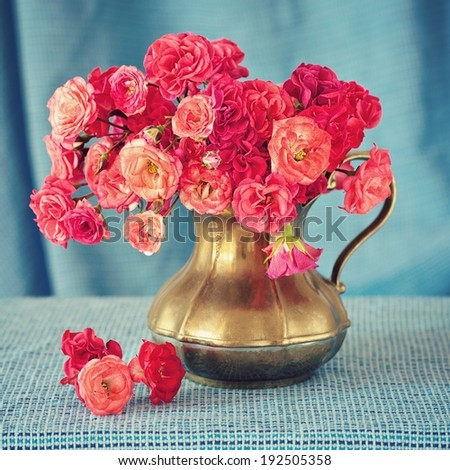 Beautiful fresh roses in a vintage jug .(blue background)  - stock photo