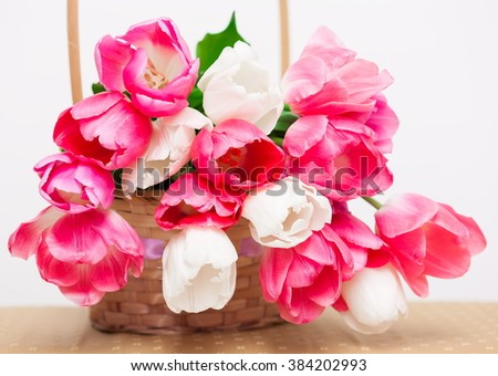 Beautiful fresh spring flowers pink white stock photo safe to use beautiful fresh spring flowers pink and white tulips bouquet in the basket on the white mightylinksfo