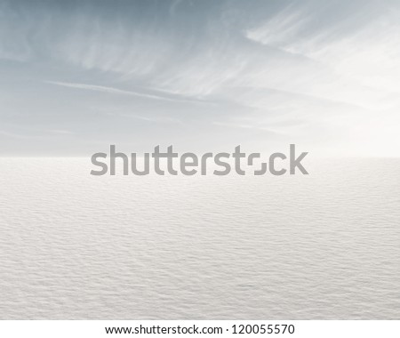 Beautiful frozen lake and sky for background - stock photo