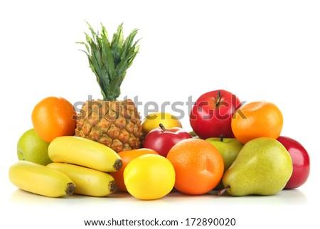 Beautiful fruits isolated on white - stock photo