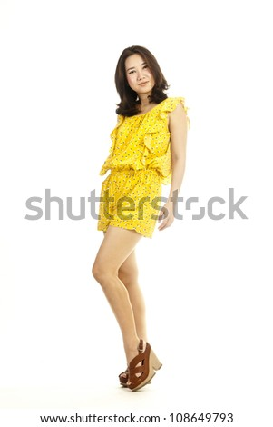 beautiful full body asian woman portrait isolated on white background