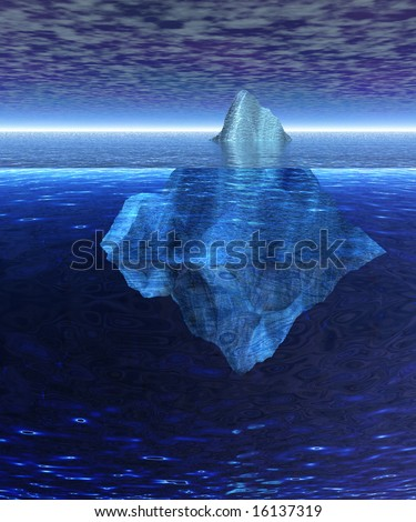 Beautiful Full Floating Iceberg in the Open Ocean with Horizon - stock photo