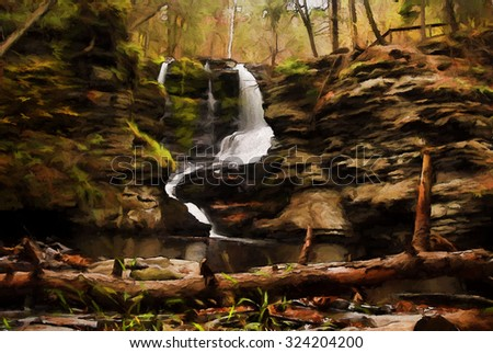 Beautiful Fulmer Falls in Autumn, located in the Poconos of Pennsylvania turned into a colorful painting - stock photo