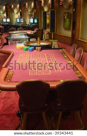 Beautiful game hall in a rich casino
