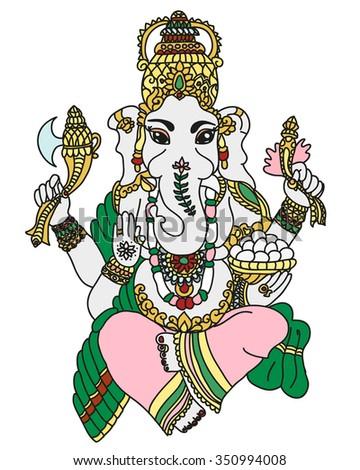 beautiful ganesha idol of wealth and fortune - stock photo