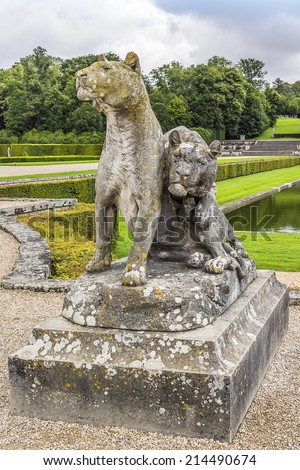 Beautiful garden designed by landscape architect Andre le Notre. Chateau de Vaux-le-Vicomte (1661) - baroque French Palace located in Maincy, near Melun, in Seine-et-Marne department of France. - stock photo