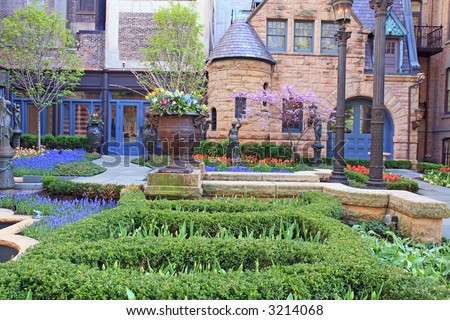 Beautiful Garden near an Old House in Chicago - stock photo