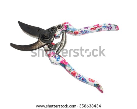 Beautiful garden secateurs isolated on a white background. - stock photo