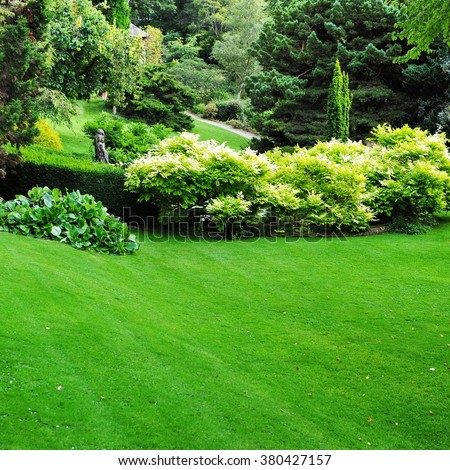 Beautiful Garden with a Freshly Mown Lawn
