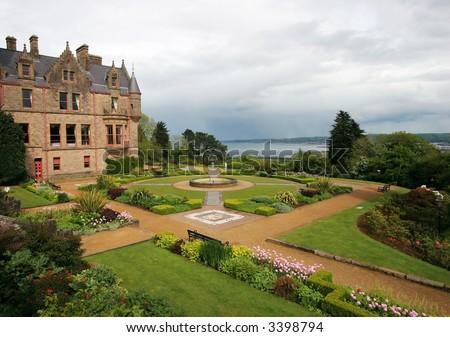 beautiful gardens at Belfast Castle, Belfast,Ireland - stock photo