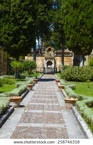 Beautiful gardens of an Italian Villa - stock photo