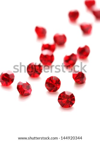 Beautiful gem stones, isolated on white - stock photo