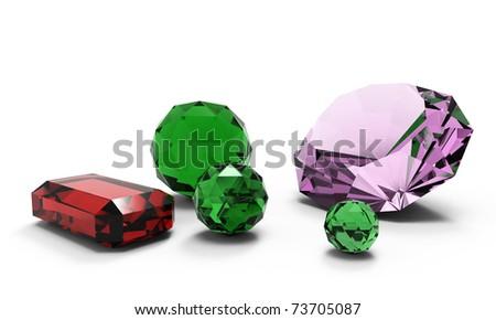 beautiful gems isolated - stock photo