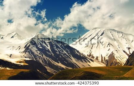 Beautiful Georgian landscape in summer. Georgia, Caucasus - stock photo