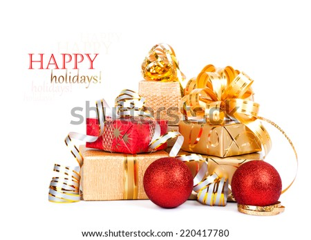 Beautiful Gift box in gold wrapping paper isolated on a white background - stock photo