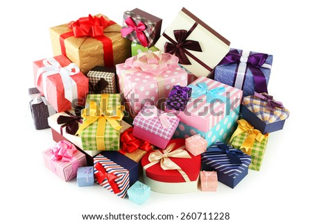 Beautiful gift boxes isolated on white - stock photo