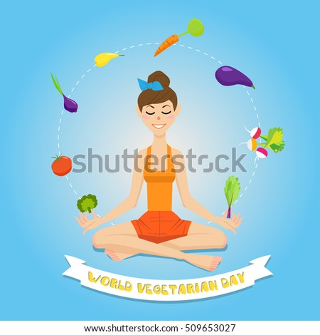 Beautiful girl, a young woman, a vegetarian in the lotus position surrounded by fruits and vegetables. Yoga girl.
