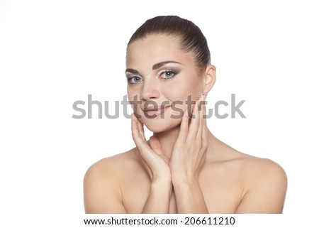 Beautiful Girl After Bath Touching Her Face - stock photo