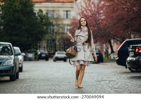 Beautiful girl after the shopping - stock photo