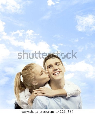 beautiful girl and boy and sky
