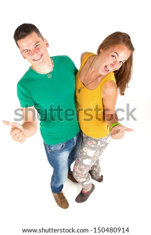 Beautiful girl and handsome boy shows that any ok - stock photo