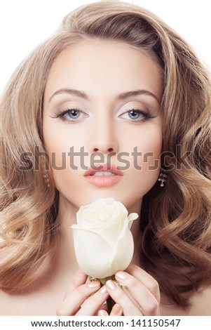 Beautiful Girl And Rose. Healthy Long Curly Hair.