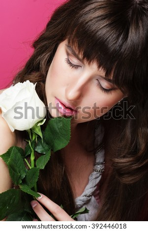 Beautiful Girl And White Rose