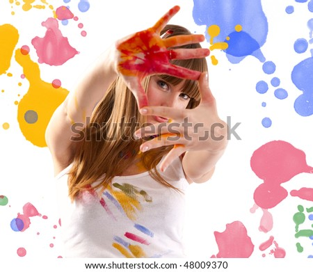 Beautiful girl artist - stock photo