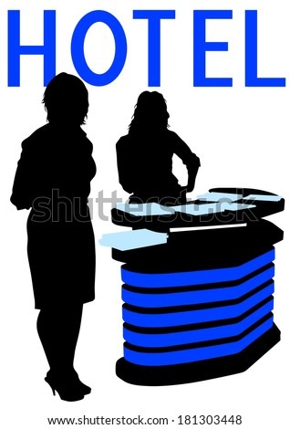 Beautiful girl at reception in hotel - stock photo