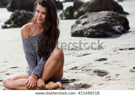 beautiful girl at the beach. summer concept - stock photo
