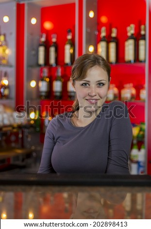 beautiful girl bartender at the bar