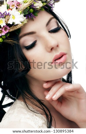 Beautiful  Girl . Beauty Woman Touching her Face. Perfect Soft Skin. Skincare concept. Professional Make-up. Makeup