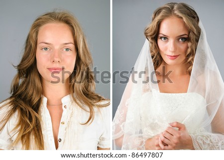 beautiful girl before and after makeover in studio - stock photo