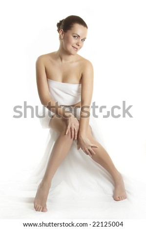 beautiful girl before massage - stock photo